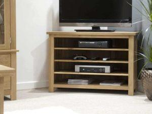 Homestyle Opus Solid Oak Open Corner TV Unit   Fully Assembled