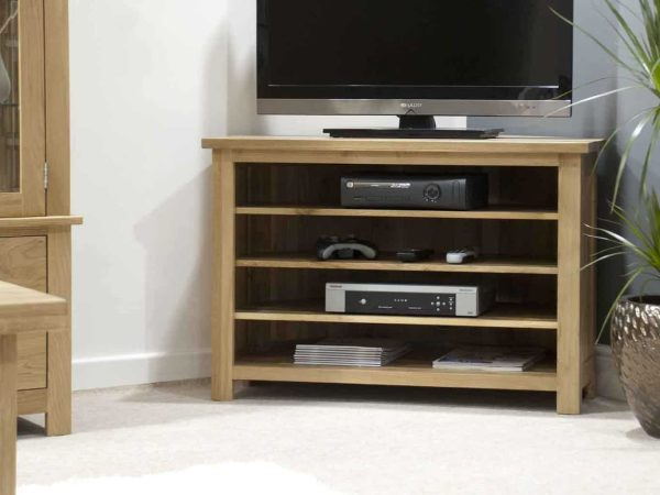 Homestyle Opus Solid Oak Open Corner TV Unit | Fully Assembled