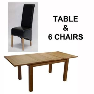 Homestyle Opus Solid Oak Extending Table & 6 Richmond Leather Chairs