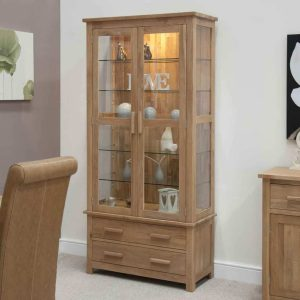 Homestyle Opus Solid Oak 2 Door 2 Drawer Glass Display Cabinet with Light | Fully Assembled
