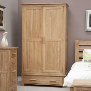 Homestyle Opus Solid Oak 2 Door 1 Drawer Gents Wardrobe