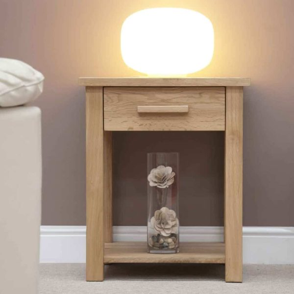 Homestyle Opus Solid Oak 1 Drawer Sofa/Lamp Table with Shelf   Fully Assembled