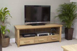 Homestyle Opus Solid Oak 3 Drawer Plasma TV Unit | Fully Assembled