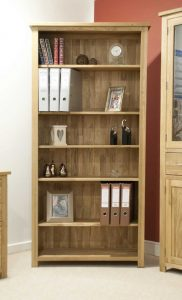 Homestyle Opus Solid Oak Large Bookcase with 5 Adjustable Shelves | Fully Assembled
