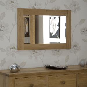 Homestyle Opus Solid Oak Small Wall Mirror 90cm x 60cm