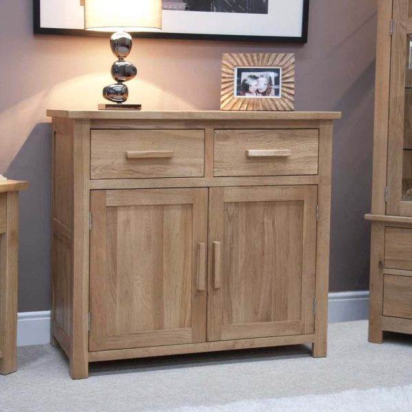 Homestyle Opus Solid Oak 2 Drawer 2 Door Small Sideboard   Fully Assembled