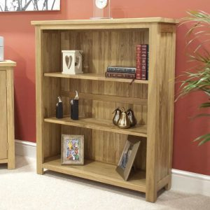 Homestyle Opus Solid Oak Small Bookcase with 2 Adjustable Shelves | Fully Assembled