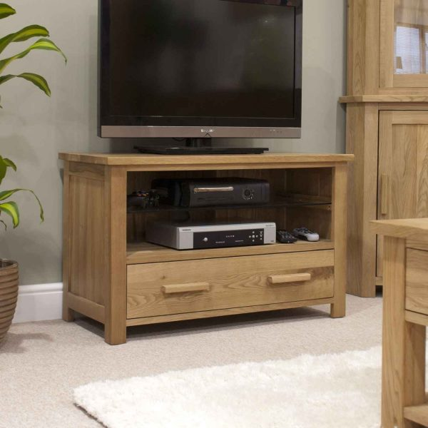 Homestyle Opus Solid Oak 1 Drawer TV Cabinet | Fully Assembled