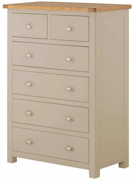 Classic Portland Painted Pebble 2 over 4 Drawer Chest