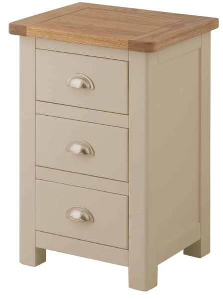 Classic Portland Painted Pebble 3 Drawer Bedside Cabinet