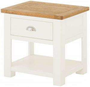 Classic Portland Painted White Lamp Table with Drawer