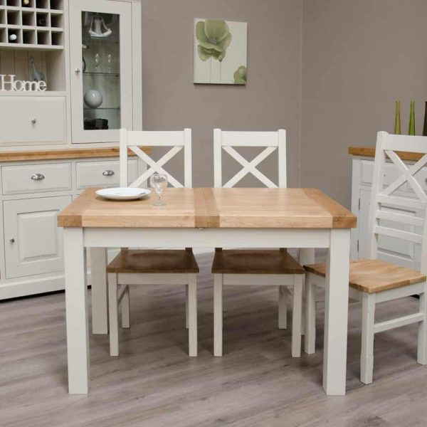 Deluxe Soft Grey With Oak Top 1.2m Extending Dining Table
