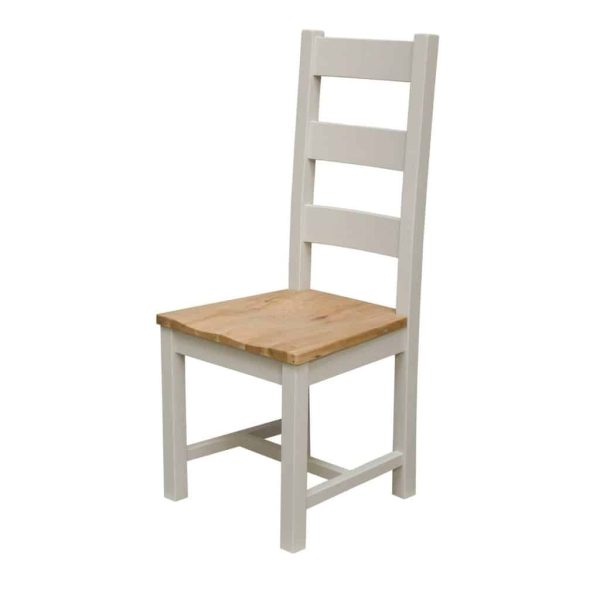 Deluxe Soft Grey With Oak Top Ladder Back Dining Chair (Pair)  | Fully Assembled