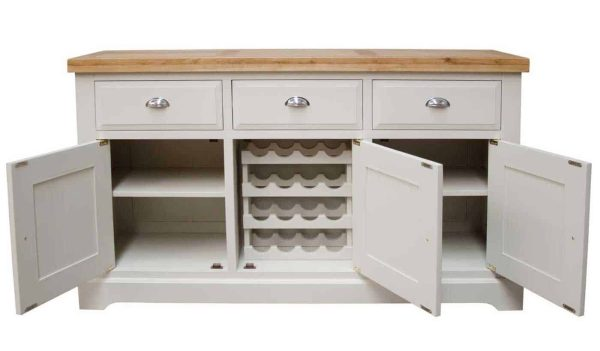Deluxe Soft Grey With Oak Top 3 Door & 3 Drawer Large Sideboard   Fully Assembled