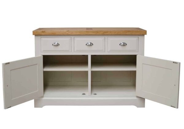 Deluxe Soft Grey With Oak Top 3 Drawer & 2 Door Medium Sideboard  | Fully Assembled