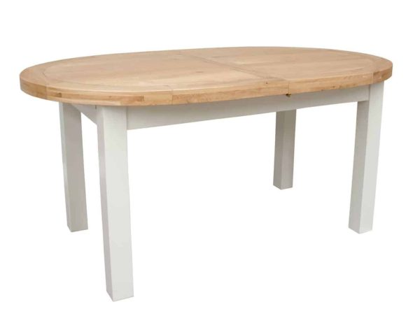 Deluxe Soft Grey With Oak Top Oval Extending Dining Table