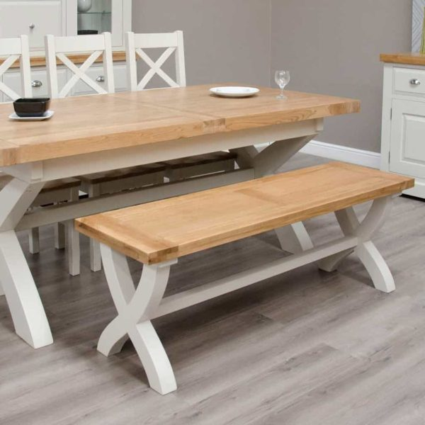 Deluxe Soft Grey With Oak Top X-Leg Dining Bench