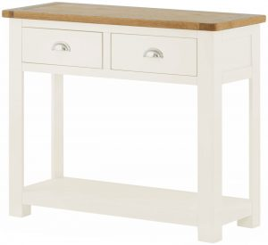 Classic Portland Painted White 2 Drawer Console Table