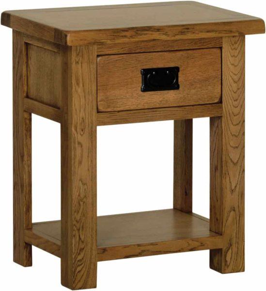 Devonshire Rustic Oak 1 Drawer Bedside Cabinet with Shelf | Fully Assembled