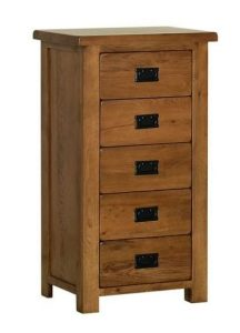 Devonshire Rustic Oak 5 Drawer Tallboy Chest | Fully Assembled
