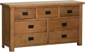 Devonshire Rustic Oak 3 over 4 Drawer Chest | Fully Assembled
