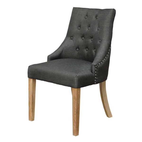 Windsor Button Back Dining Chair – Charcoal Grey (Pair)
