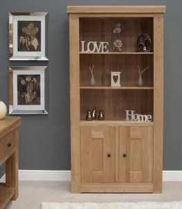 Homestyle Bordeaux Oak 2 Door Bookcase | Fully Assembled