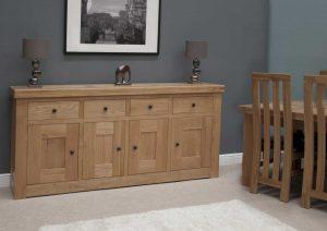 Homestyle Bordeaux Oak 4 Door 4 Drawer Sideboard | Fully Assembled