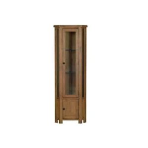Devonshire Rustic Oak Corner Display Cabinet with Cupboard & Light | Fully Assembled