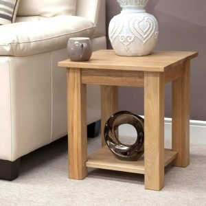 Homestyle Opus Solid Oak Lyon Lamp Table with Shelf