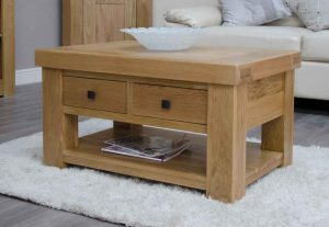 Homestyle Bordeaux Oak Coffee Table with Two Drawers | Fully Assembled