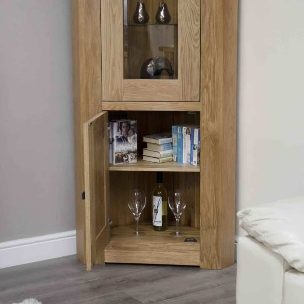 Homestyle Bordeaux Oak Corner Display Unit With Light   Fully Assembled