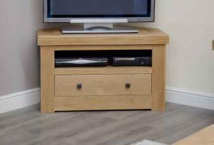 Homestyle Bordeaux Oak 1 Drawer Corner TV Unit | Fully Assembled