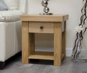 Homestyle Bordeaux Oak 1 Drawer Lamp Table | Fully Assembled