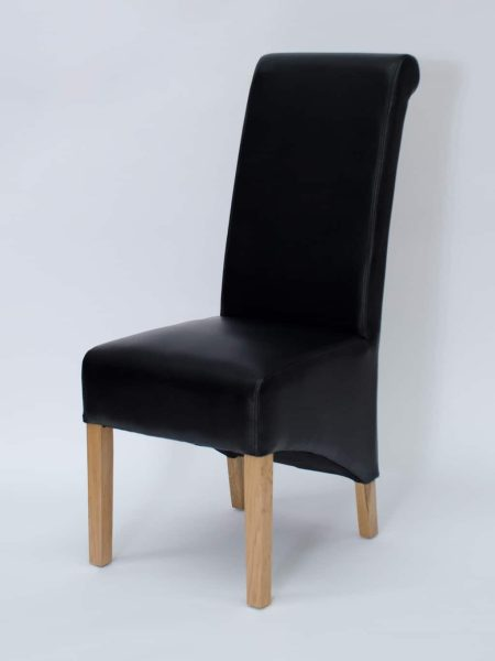Richmond Noir Matt Finish Leather Dining Chair (Pair)