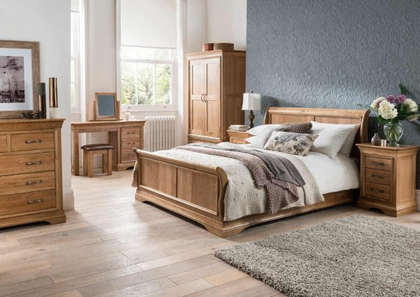 Normandy French Solid Oak 3′ Single High Foot End Sleigh Bed