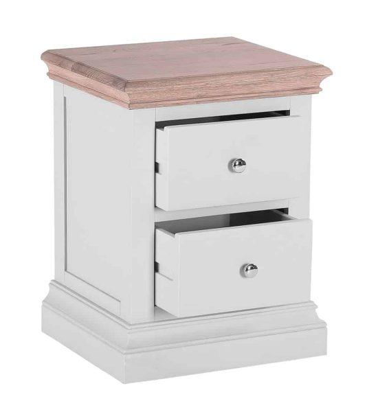 Besp-oak Rosa Painted 2 Drawer Bedside Cabinet