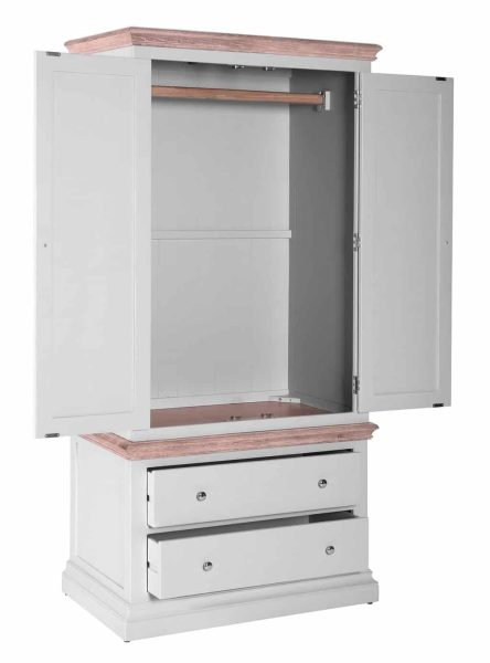 Besp-oak Rosa Painted 2 Part His Wardrobe with 2 Drawers KD