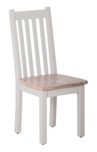 Besp-oak Rosa Painted Vertical Slats Dining Chair with Timber Seat (Pair)