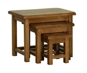 Devonshire Rustic Oak Small Nest of 3 Tables | Fully Assembled