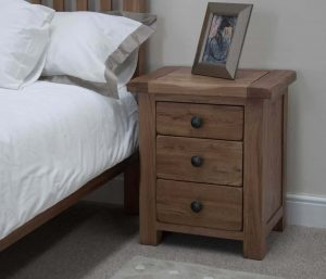 Original Rustic Solid Oak 3 Drawer Bedside Cabinet