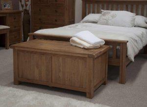 Original Rustic Solid Oak Blanket Box