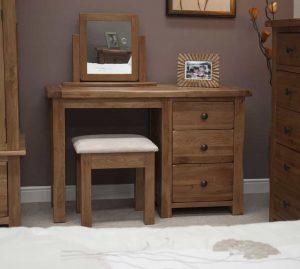 Original Rustic Solid Oak Dressing Table and Stool