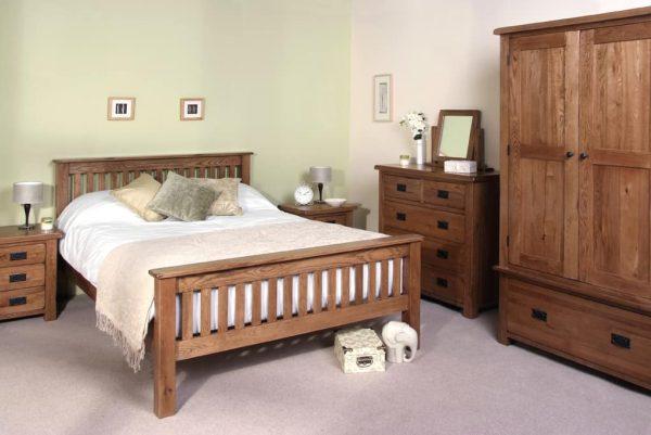 Devonshire Rustic Oak 3 Drawer High Bedside Cabinet | Fully Assembled
