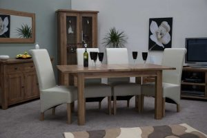 Original Rustic Solid Oak Extending Table & 4 Richmond Leather Chairs