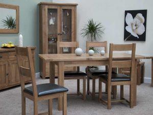 Original Rustic Solid Oak Dining Chair (Pair)