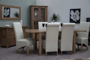 Original Rustic Solid Oak Extending Table & 6 Richmond Leather Chairs