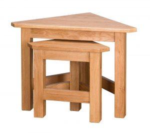 Besp-Oak Vancouver Select Oak Corner Nest of 2 Tables | Fully Assembled