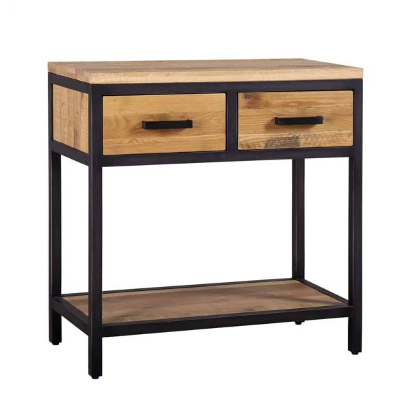 Besp-Oak Forge Iron and Oak Hall Table with 2 Drawers and Oak Shelf | Fully Assembled