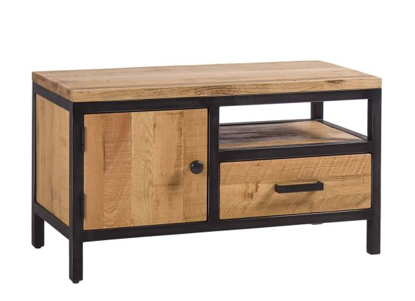 Besp-Oak Forge Iron and Oak TV Unit With 1 Door & 1 Drawer | Fully Assembled